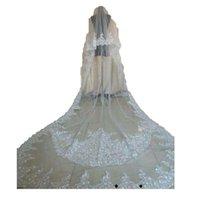 2 طبقات الزفاف الحجاب أحمر الخدود العروس يزين الرباط مع مشط الترتر الزفاف للبنات كاتدرائية فاخرة طول طويل مطرز