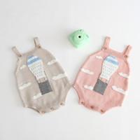 Bébé enfants vêtements de marque Romper Tricoté 100% Coton Ballon Feu Design barboteuse Printemps Automne Infant Clothing