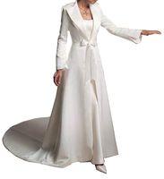 2019 Kış Düğün Palto Gelin Pelerin Ceketler Sweep Tren Uzun Kollu Yay Beyaz Düğün Saten Shrugs Özel Durumlar Sarar