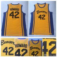 Üst kalite ! Teen Wolf Scott Howard 42 Beacon Beavers Koleji Basketbol Forması Sarı Film Howard Beavers Dikişli Gömlek S-XXL