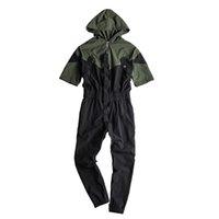 Bib Macacões manga curta dos retalhos com capuz Jogger calças dos homens ABOORUM Verde Macacões na moda Exército macacões com Belt R3433