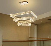 Современные 3 прямоугольника LED Crystal Crystal Chastelier Подвесные светильники Освещение AC110V 220V Персонализированное Подвесное освещение для виллы Жилая столовая ресторан