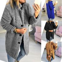 여성 가짜 모피 롱 자켓 여성 겨울 싱글 브레스트 두꺼운 따뜻한 고체 코트 양털 소프트 롱 자켓 T190919