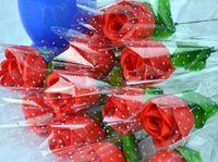 Symulacja Jedwabna Kwiat Pojedynczy Oddział Walentynki Promocja Promocja Prezent z Pakiet Rose Single Branch Brzoskwinia Rose WL1094