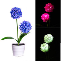 Solar Onion Ball Flower Lights LED Artificiale Rose Pot Flower Bonsai LED Lampada valentine cherry blossom
