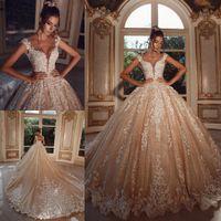 Abiti da sposa Champagne di lusso in rilievo appliqued puro gioiello Neck Neck Arabic Robes de Mariée Paese Abiti da sposa Abiti da sposa Abito da sposa