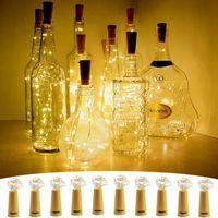 Luces de botella de luces Xmas / Decoración de fiesta LEDS Gadget Forma de corcho para 1m 10 LED Botellas de vino Fiesta de cadena Corchos En forma de alambre de plata Atmósfera estrellada Luz