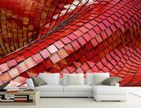 ورق جدران مخصص HD أحمر ثلاثي الأبعاد ورق جدران معدني للجدران 3d غرفة معيشة غرفة نوم جميلة جدارية شمالية