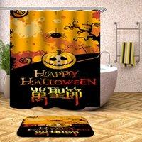 Cortina de ducha de Halloween Horror Fantasma Pumpkin Moon Baño Cortina de ducha Impermeable Tela de poliéster sin navegar 180 * 180cm FFA3152