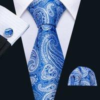 Fast Shipping Men's Silk Tie Set Fashion Blue Paisley Wholesale Classic Woven Necktie Pocket Square Cufflinks Wedding Business N-5147