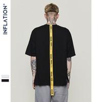 العلامة التجارية التي شيرت الشارع الشهير حروف صفراء طويلة الشريط رجل t-shirt قصيرة الأكمام قمم المحملات شوارع شعبية شعار الربط المعتاد قبالة