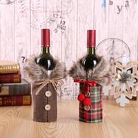 와인 병 커버 바 제품 Bow-inted Linen Decanter 케이스 선물 가방 크리스마스 휴일 장식 공장 직접 판매 17 * 24cm LXL347-A