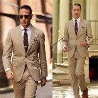 Trajes elegantes de boda de alta calidad para esmoquin de bodas para hombre de color marrón claro Dos piezas para el novio Use un traje formal barato (chaqueta + pantalón)