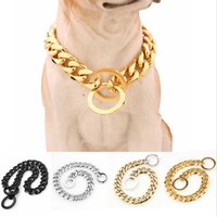 15mm Gold Plated Pet Collar Dog Training Choke Chain Collars...