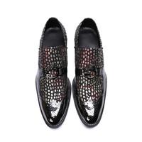 NOUVEAU Hommes d'onde Point Bullock sculpté chaussures mode formel glissement sur talon bas oxford pour les hommes en cuir véritable parti chaussures de mariage