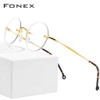 Moda occhiali da sole cornici fonex puro titanio in titanio occhiali ottici incorniciata uomo vintage tondo prescrizione occhiali da vista donne myopia coreano ey