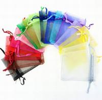 오간자 쥬얼리 웨딩 파티 MIXED 도매 7 개 * 9cm 보석 가방 크리스마스 선물 가방 퍼플 블루 핑크 옐로우 블랙으로 졸라 매는 끈을 선호