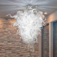 램프 현대 크리스탈 샹들리에 가벼운 아트 홈 장식 클리어 볼 펜던트 램프 스타일 핸드 블로우 유리 계단 샹들리에