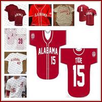 Homens Custom Alabama Carmesim Maré NCAA College Baseball 40 Jimmy Nelson 16 Alex Avila 1 Mikey Branco 9 Cody Henry 26 Jett Manning Sewn Jerseys