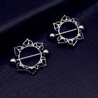 2pcs Doux chirurgical en acier fleur mamelon Bar Barbell bouclier couverture piercing anneau piercing corps bijoux livraison gratuite