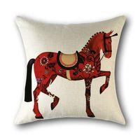 Kissenbezug Kreativkissenbezug rot Tierpferd Home Decor Baumwolle Leinenkissenbezug für Sofa Kissenbezug