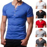 Uomini della maglietta di estate di modo V manica corta Tee Shirt casual Button Slim Fit Metal Design Mens magliette XXL