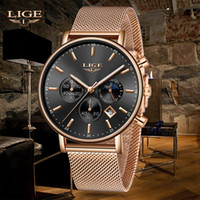 Relogio LIGE New Top Brand Fashion Luxury Gold Mesh Band Cre...