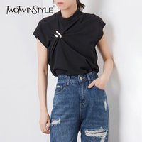TWOTWINSTYLE Casual Irregular Women Tank Tops O Neck Sleevel...