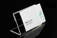 10pcs Akrilik T1.3mm Temizle Plastik Masa İşaret Fiyat Etiketi Etiket Ekran Kağıt Promosyon Kart Sahipleri L Şekli adı Kart masası çerçeve Standları