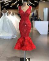 2020 레드 인어 이브닝 드레스 럭셔리 짧은 레이스 Appiqued Prom 가운 빈티지 플러스 크기 깃털이있는 아랍어 공식 파티 가운