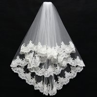 Short 2 Layer High Quality Wholesale wedding veils Lace Edge...