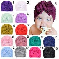 I bambini delle neonate cappelli elastici Boho Hat Beanie sciarpa della testa del turbante Wrap cotone Newborn Fotografia Cap puntelli Cappelli Knit MZ028