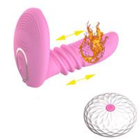 7 vitesses chauffage télescopique Dildo Vibromasseur Télécommande G-spot Anal Clitoris Stimulateur Masturbateur Adult Sex Toys pour femmes C18112301