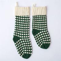 46cm Lana regalo del pendente lavorata a maglia Sock Albero di Natale Decor Candy Bag Grande Calza Bianco Verde Rosso Calze 12mxa Ww