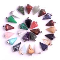 Collane con pendente in pietra naturale con catena in pelle opale cristallo quarzo agata pendenti esagonali gioielli di moda accessori all'ingrosso