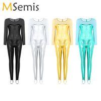 무대 착용 여성 발레 레오르드 체조 착색 한 조각 반짝 이는 금속 특종 목 롱 슬리브 등자 현대 bodysuit 댄스 의상