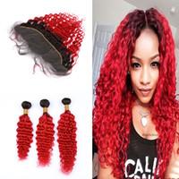 Dark Roots parte libera frontale con profonda dei capelli ricci di estensione Ombre colorati onda profonda 1B rosso 3Bundles Con 13x4 Frontale