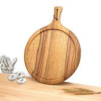 جديد جودة عالية غير مصبوغ الخشب الصلب قطع المجلس الشمال الرياح مع مقبض خشبي اللوح بسيط جولة البيتزا لوحة بالجملة