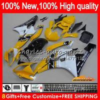 Lichaam voor Yamaha YZF R 6 YZF 600 YZF-600 YZFR6 06 07 Frame 61HC.9 Geel Wit YZF R6 06-07 600CC YZF600 YZF-R6 2006 2007 OEM-FUNLINGS KIT