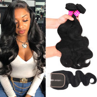 9A Brazilian Hair Body Wave Bundles With Lace Closure 100% B...