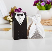 100 Pieces Creative Bride and Groom Candy Box For Wedding Sweet Bag Wedding Favors Gift For Guest