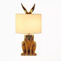현대 책상 테이블 램프 빛 밤 램프 E27 토끼 홈 침실 장식 실내 LED 테이블 조명