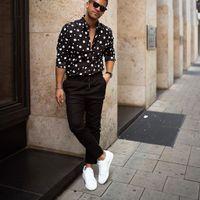 KLV 2019 hombres de la camisa de los hombres streetwear Moda suelta de manga larga informal lunares Impreso blusa superior de envío libre D4