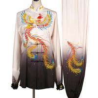 중국어 태극권은 쿵후 유니폼 태극 검 옷 기모노 기공 의상 여성 남성 소녀 소년 어린이 성인 아이들을위한 자수 의류