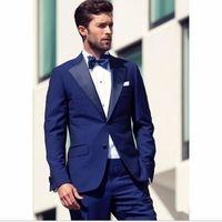 Tute blu royal Mens Dinner Party Prom smoking dello sposo smoking uomini Groomsmen nozze giacca sportiva degli uomini vestito (giacca + pantaloni) DF69
