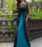 2020 Black Lace Peacock Satin Evening Dresses 3 4 Long Sleev...