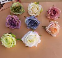 Pintura DIY Jefes de seda de la flor de Rose del camino LED Decoración artificial para la boda Flores decoración de la pared de fondo del hotel 30pcs / lot