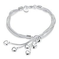 Moda 925 Banhado a Prata Corações Encantos Pulseira Serpente Cadeia Bangle Mulheres Bracelet presente Ladies mão H067 Jóias