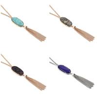 мода стили богемный длинные кисточкой заявление ожерелья Для женщин натуральный камень Druzy кулон оптовая цена бесплатная доставка