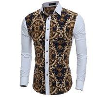 Mäns Casual T-shirts Mänskjorta 2021 Man Långärmad Mens Great Body Pattern Printing Slim Fit Dress Hawaiian